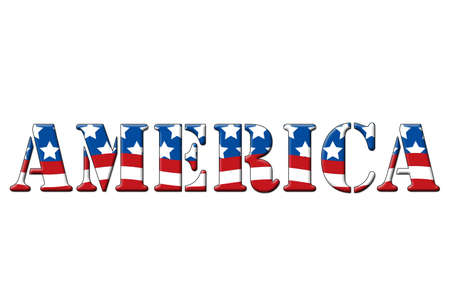 America written in letters in the shape of the American flag. Stock Photo - 6768132