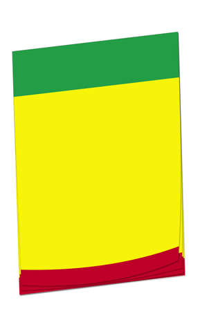 adding: Blank note paper with space for adding your own text. Colours match the Benin flag. Stock Photo