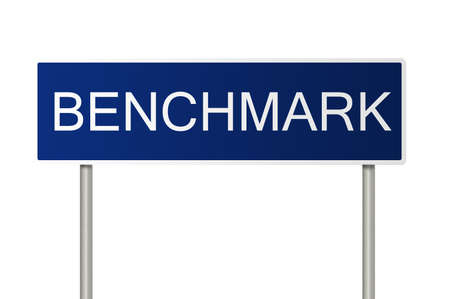 benchmark: A blue road sign with white text saying Benchmark