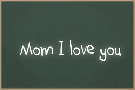 miss: Chalkboard with wooden frame and the text Mom I love you Stock Photo