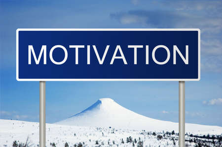 motivator: A blue road sign with white text saying Motivation