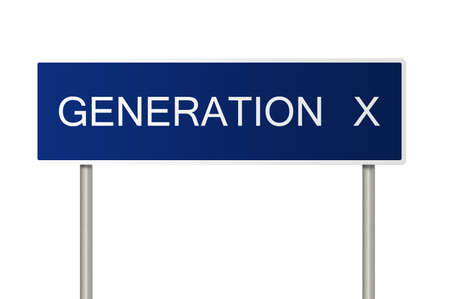 generation x: A blue road sign with white text saying Generation X