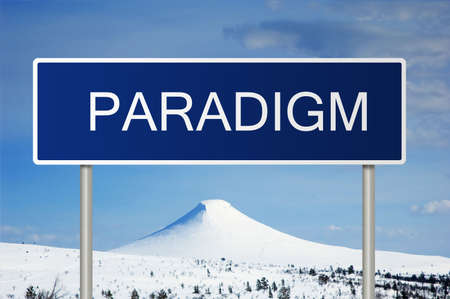 paradigm: A blue road sign with white text saying paradigm Stock Photo