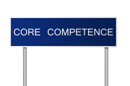 A blue road sign with white text saying Core Competence photo