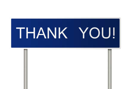 A blue road sign with white text saying Thank You! photo