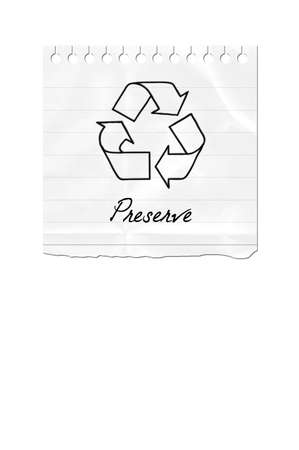 A Torn Out Paper With The Recycle Symbol And The Text Preserve Stock