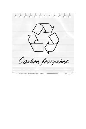 A torn out paper with the recycle symbol and the text Carbon Footprint photo