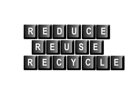 reduce reutiliza recicla: Reducir, reutilizar, reciclar escrito con letras de teclado de ordenador