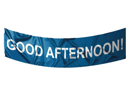 A blue banner with white text saying Good afternoon Stock Photo - 6845648