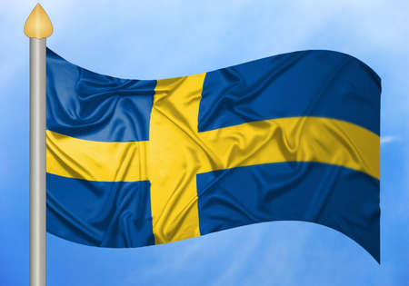 A Swedish flag waving in the wind and flag pole. photo
