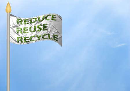 reduce reutiliza recicla: Una bandera con el texto reduce, reutilizar, reciclar  Foto de archivo