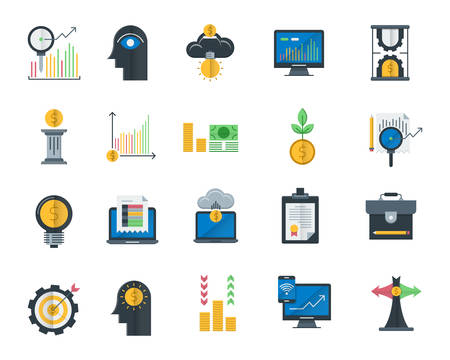 Analytics and investment flat icons