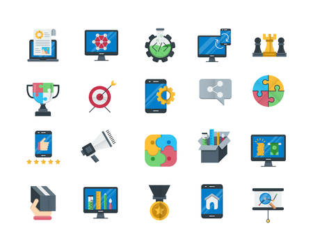 Seo and web optimization flat icons