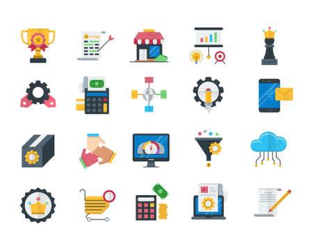 Seo and web optimization flat icons