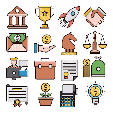 Business filled outline icons suitable for a wide range of digital creative projects.