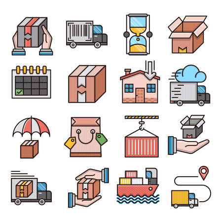 Delivery filled outline icons suitable for a wide range of digital creative projects.