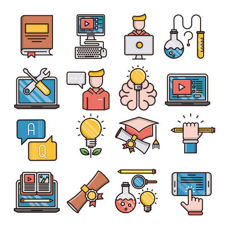 Education filled outline icons suitable for a wide range of digital creative projects.  イラスト・ベクター素材