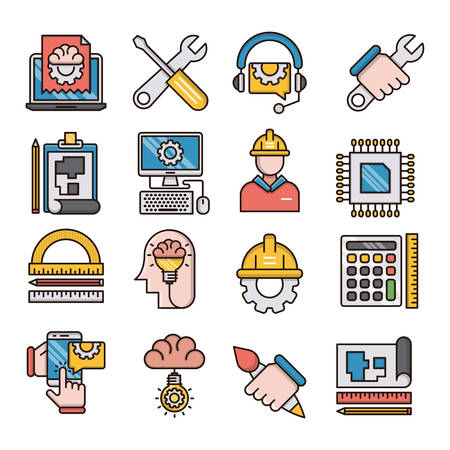 Engineering filled outline icons suitable for a wide range of digital creative projects.  イラスト・ベクター素材