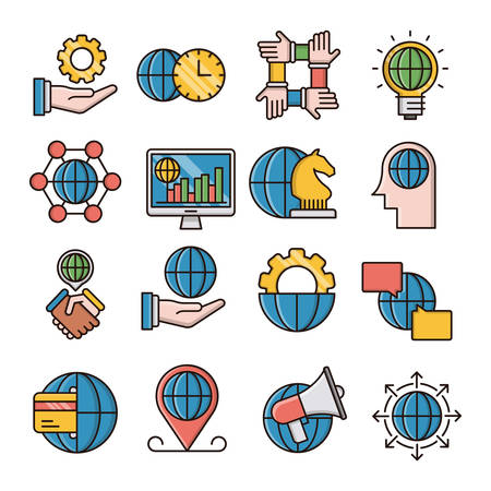 Global business filled outline icons suitable for a wide range of digital creative projects.