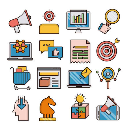 Marketing filled outline icons suitable for a wide range of digital creative projects.