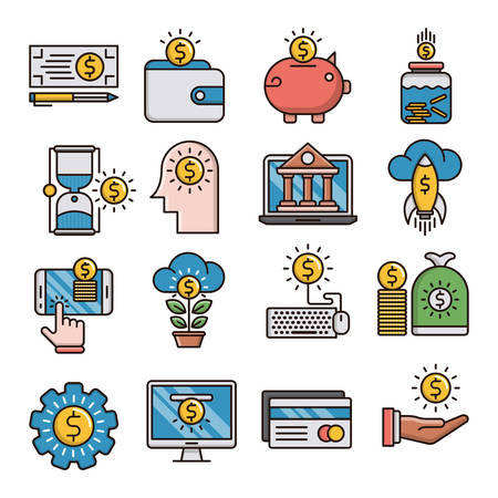 Money filled outline icons suitable for a wide range of digital creative projects.  イラスト・ベクター素材