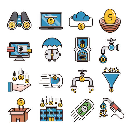 Money flow filled outline icons suitable for a wide range of digital creative projects.  イラスト・ベクター素材