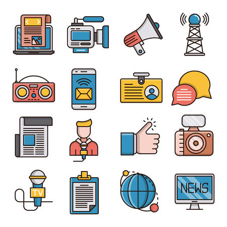 News filled outline icons suitable for a wide range of digital creative projects.