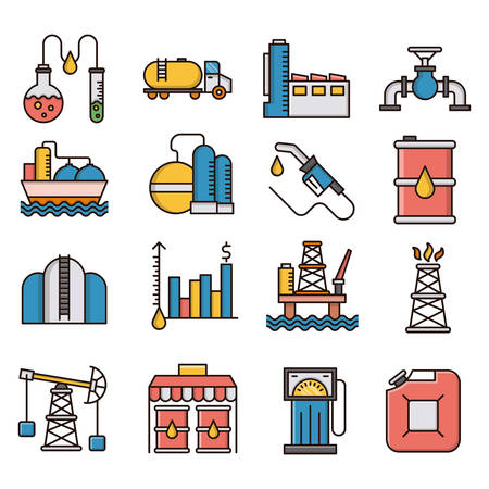 Oil industry filled outline icons suitable for a wide range of digital creative projects. Illustration