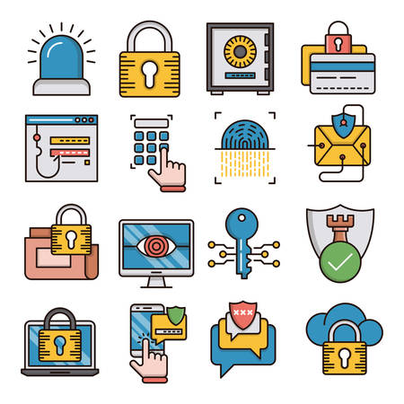 Security filled outline icons suitable for a wide range of digital creative projects.