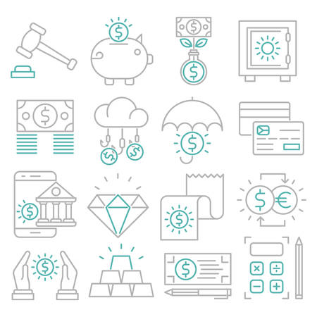 Banking outline icons suitable for a wide range of digital creative projects.