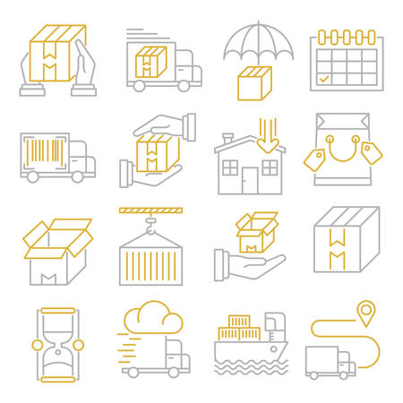 Delivery outline icons suitable for a wide range of digital creative projects.