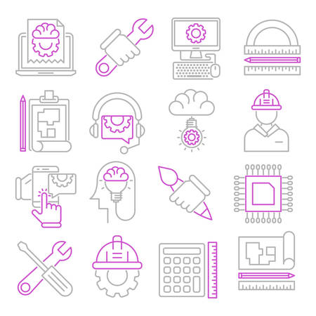 Engineering outline icons suitable for a wide range of digital creative projects.  イラスト・ベクター素材