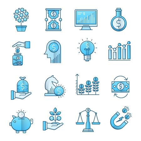 Investment blue icons suitable for a wide range of digital creative projects.  イラスト・ベクター素材