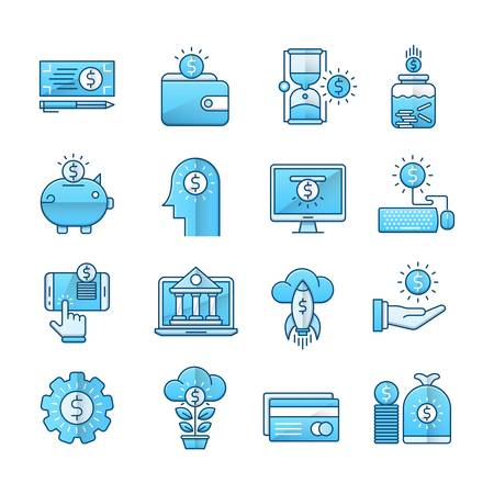 Money blue icons suitable for a wide range of digital creative projects.