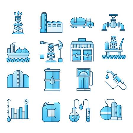Oil industry blue icons suitable for a wide range of digital creative projects.