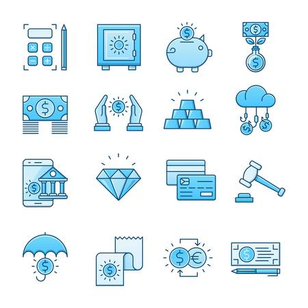 Banking blue icons suitable for a wide range of digital creative projects.