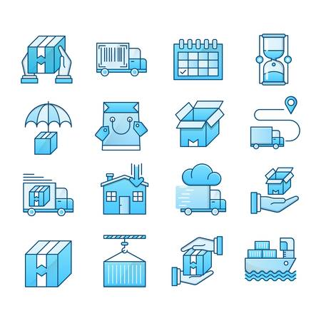 Delivery blue icons suitable for a wide range of digital creative projects. Ilustração