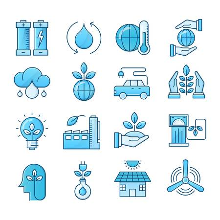 Ecology blue icons suitable for a wide range of digital creative projects.