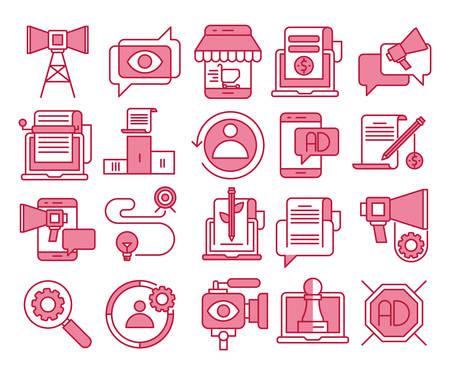 Digital marketing vector icons set Banque d'images - 117887632
