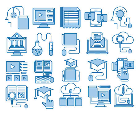 Online education vector icons set