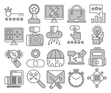 Set di icone vettoriali di ottimizzazione SEO e web