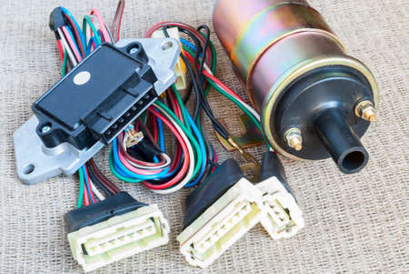 motor car candles: spare parts for the ignition system Stock Photo