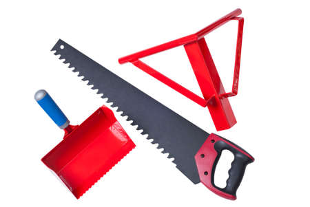 aerated: hacksaw, bucket-comb and angle for cutting aerated concrete