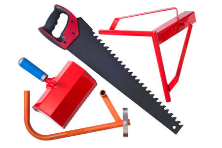 foamed: hacksaw, wall-chaser, bucket-comb and angle for cutting aerated concrete Stock Photo