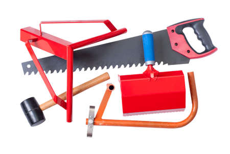 aerated: hacksaw, wall-chaser, bucket-comb and angle for cutting aerated concrete Stock Photo