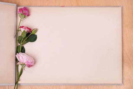 テーブルの上のフォト アルバムを開き、3 本のバラ 写真素材