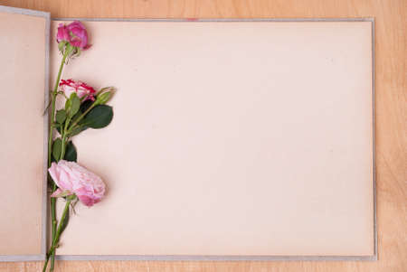 open photo album on a table and three roses Imagens