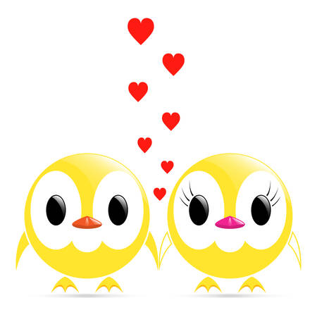 sweet couple: vector image - sweet couple chicks