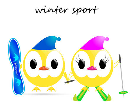 winter sport: vector image - chickens winter sport