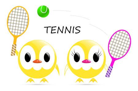 jugando tenis: vector de imagen - polluelos amarillos que juegan al tenis